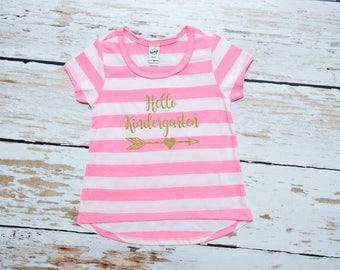 Toddler Girl Hello Kindergarten | Toddler Back to School | Kindergarten Girl Shirt | Hello Kindergarten | Preschool Graduate Girl | 285