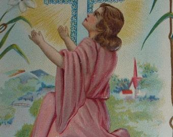 Boy Jesus Kneeling, Dove, Cross and Easter Lilies Antique NASH Postcard