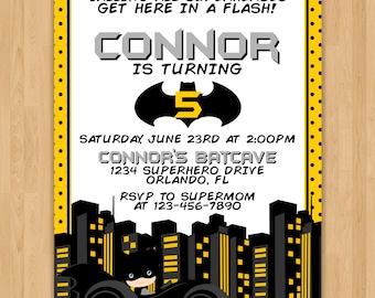 Batman Inspired Birthday Invitation