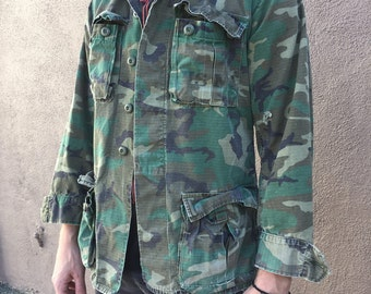 Vintage ARMY Military Jacket Green Camo Jacket | Men's M/L