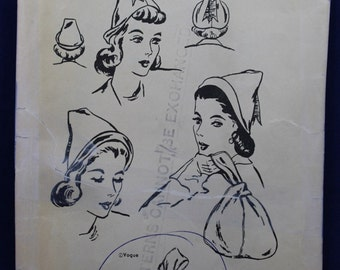 Vintage 1940's Sewing Pattern for a Woman's Hat & Bag - Vogue 9837