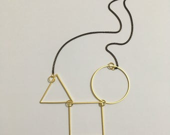 Asymmetrical Geometric Gold Necklace, Circle, Triangle, Square, Cubic,  Minimalist, Modern, 16k Gold plated Black textured Brass necklace