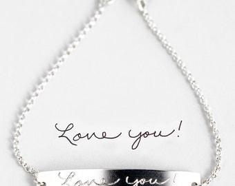 Actual Handwriting Bracelet, Memorial Signature Bracelet, Signature Jewelry, in Gold Fill, Silver, Rose Gold Bar Bracelet Meaningful