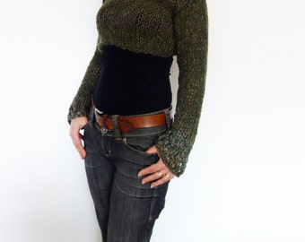 Knitting Pattern -  Woodland Cropped Top/ Boho  Short Sweater/ Modern Rustic HandKnit Shrug/Chunky Laced Knitwear