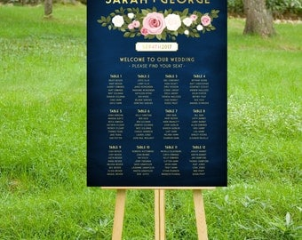 The FRANKIE . Seating Chart Wedding Sign . Alphabetical or Table Names . Printed Sign or PDF . Gold & Navy Chalkboard White Blush Pink Rose