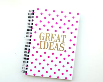 """Cute spiral note book 'Great Ideas"""" with gold details"""