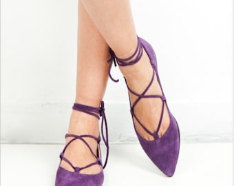 Lace up/Pointed toe flats / purple suede /greek desinger/handmade flat shoes