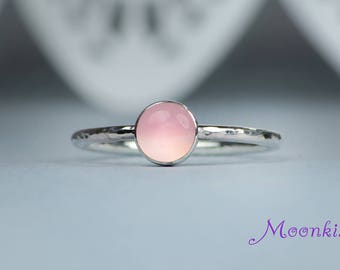Pink Chalcedony Ring - Sterling Silver Gem Ring - Delicate Silver Stacking Ring - Romantic Statement or Promise Ring - Gift For Her