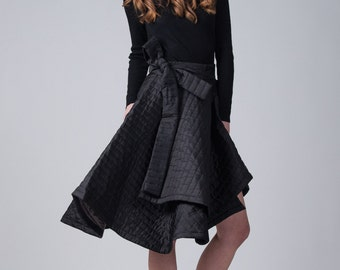 Black wrap quilted skirt / High waist skirt / Duvet black skirt / Asymmetric wrap skirt / Big bow black woman's skirt / Fasada 16144