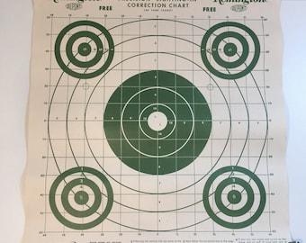 Graphic Green Bullseye Shooting Target, Remington, Dupont, Print, Wall Decor, Ephemera, 1950's