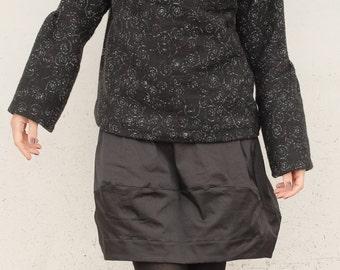 Black Short Skirt - Cotton Short Skirt - Black Skirt Above the Knees - Wide Black Skirt - Black Mini Skirt - Minimal Short Skirt - Polished