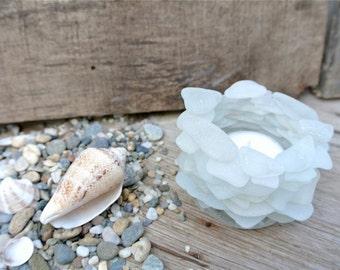 Sea Glass Candleholder, Beach Glass Decor, Glass Tealight Holder, Glass Votive, Nautical Home Decor,