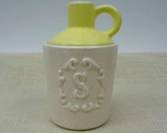 Jug Salt Shaker // Yellow And Cream Speckled // Big Salt Shaker // Marked USA