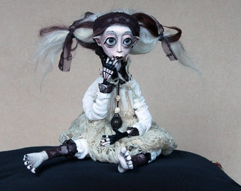 Artist Doll Little Vampire, Home  Decor Creepy Art Doll, Horror Doll Art decors, OOAK Collectibles Art Doll, Halloween Doll Decoration