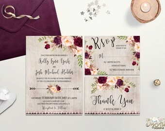 Burgundy Wedding Invitation Printable Wedding Invite Rustic Marsala Wedding Invitation Suite Boho Floral Wedding Invite Digital or Printed