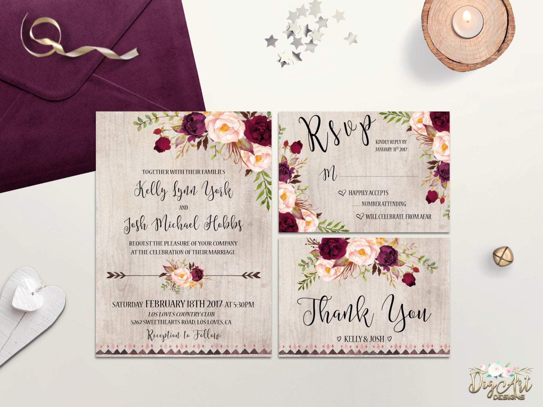 Wedding Invites Pinterest: Burgundy Wedding Invitation Printable Wedding Invite Rustic
