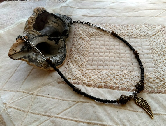 Stylish Tribal Black Chain Necklace, Bronze Beads, Tibetan Silver Beads, Bronze Angel Wing, Black Glass Beads,