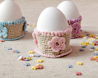 Crochet egg cups set of three Easter eggs holders set cute kitchen decor Easter table decorations handmade Easter gifts for kids eggs cozies