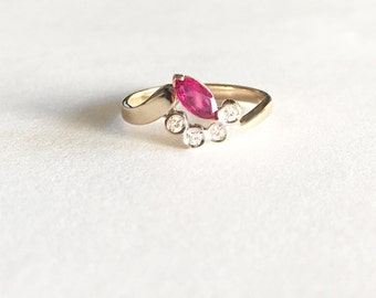 Marquise Ruby Ring, Vintage Ruby Rings, 14K Gold Ruby Jewelry, July Birthstone