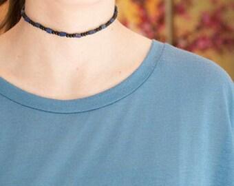 Black + Lapis Lazuli Choker // Gemstone Choker Necklace