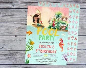 Pool Party Invitation, Pool Party Birthday Invitation, Pool Party Invite, Moana Pool Party Invitation, Pool Party invites, Pool Party invite