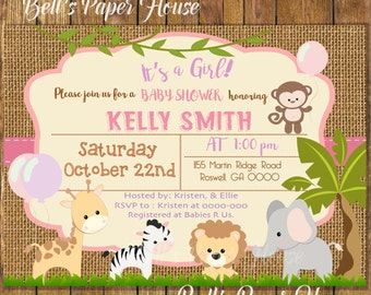Digital File or Printed, Safari Baby Shower Girl Invitation,Baby Girl Safari,Safari Burlap,Jungle Theme Baby Shower Invitation,Free Shipping
