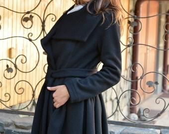 Winter Coat Women, Womens Wool Coat, Black Wool Coat, Warm Coat, Asymmetrical Winter Jacket, Designer Coat with Pleats by Danellys D16.07.01