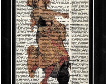 278 Dancing Lady with Rooster Vintage Paper