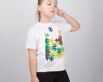 Puzzle Print Shirt for Kids Funny Shirt Girls' Clothing Boys' Clothing Unisex Kids' Clothing Kids Gift Graphic Tee Cute Shirt PA1075
