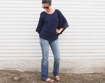 Cotton Poncho-Style Sleeved Top in NAVY // Fluffy, Breathable, Free-Moving Elegance!