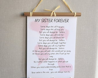 Personalized  Sister poem - Birthday gift for Sisters Forever - Soul Sister Print, Thank you sister Gift - Sister Christmas gift - Wall art