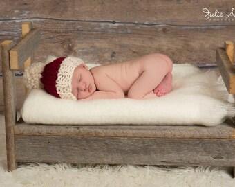 Christmas Santa Pompom Winter Hat Chunky Knit - Photo Prop - Newborn, Baby, Child