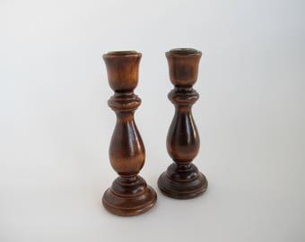 Wooden Candlesticks Wood Candleholders Rustic Candleholders Vintage Wood Decor