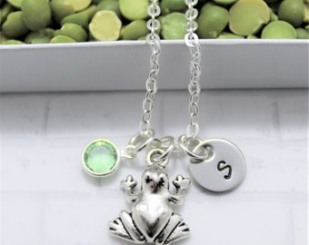 Frog Necklace - Frog Party - Personalized - Necklace with Frog - Custom Initial Necklace