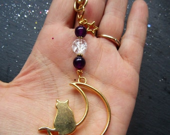 Cat Sitting on the Moon Bag Charm, Semi-precious Quartz and Purple Agate, Moon and Cat Bag Charm, Cat Bag Accessory, Bag Charm, gift for her