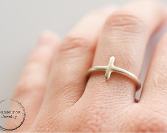 Thick sterling silver cross ring, thick gauge silver cross, gift for her