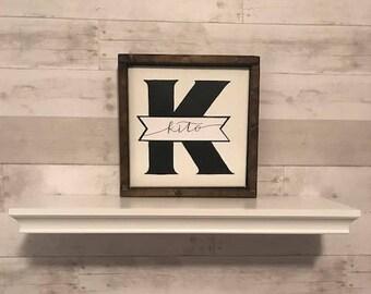 custom monogram/last name hand lettered wood framed sign
