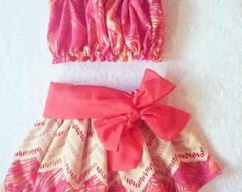 hula skirt Moana inspired outfit, baby/toddler luau hula outfit, moana costume, birthday girl luau outfit, moana birthday outfits, Size 3t