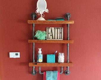 Pipe and Wood Shelf/3-tier shelf/Reclaimed Wood Shelf/Pipe Shelf/Rustic Shelf