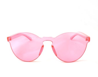 Crystal CLEAR CANDY PINK Sunglasses By Kokorokoko Frameless Tinted