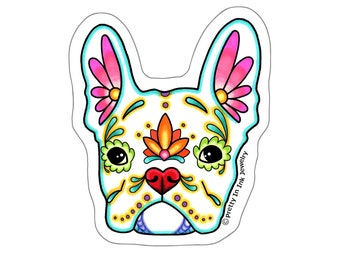 French Bulldog in White Sticker - Day of the Dead Frenchie Sugar Skull Dog - Clear Vinyl Decal