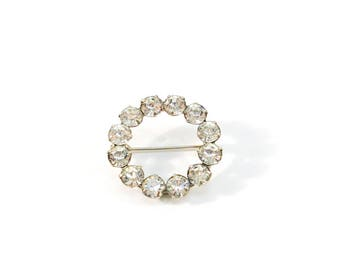 Vintage Rhinestone Brooch, Circle Prong Set Rhinestone Brooch, Large Faceted Clear Round Glass Stone Pin