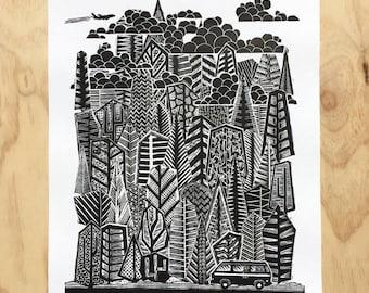 Forest Wall Art, Campervan, Mountain Art Print, Rock Climbing, Lino Poster, Linocut, Lake Tahoe, Yosemite, PNW, Pop Up, Camper Van, Decor