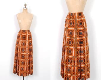 Vintage 1960s Skirt / 60s Emanuel Ungaro Printed Maxi Skirt / Orange ( medium M )