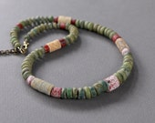 Blue Green Excavated Bead Necklace Djenne Mali Ancient Glass Trade Beads with Fossil Crinoids Ethnic Boho Jewelry