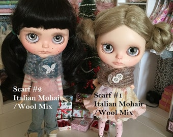 Handknitted Mohair Mix Chunky Winter Scarf - for your Blythe Doll & Similar 1:6 Scale Dolls