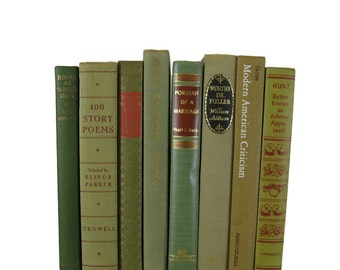 Vintage Books, Gifts for Her, Army Green Tan, Bookshelf Decor, Wedding Decor, Home Decor,  Decorative books, stack of old books,