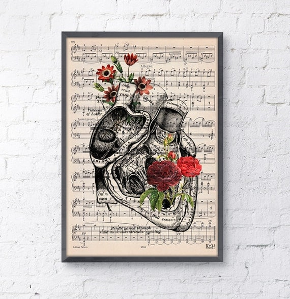 Summer Sale Heart with flowers over music sheet Love gift, first aniversary gift, Music student Girlfriend gift, music sheet SKA080MSL