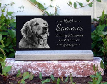 Pet Memorial Stone Pet Grave Marker Pet Headstone With Optional *Base Stand* Granite Headstone Customized with YOUR Pets Photo
