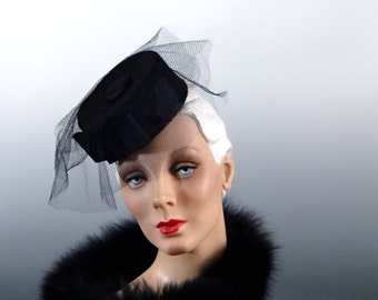 Black Silk Mini Hat Fascinator Veil Vintage 1950's Women's Accessories